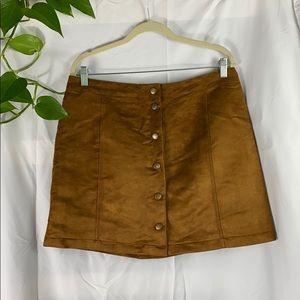Suede brass button skirt